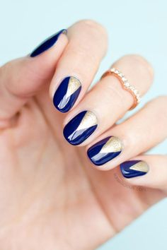 Thinking of trying these blue and gold nails!