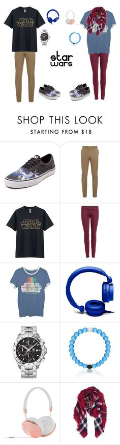 """Star Wars fans"" by ciciiscuteez ❤ liked on Polyvore featuring Vans, Brioni, Uniqlo, 7 For All Mankind, Junk Food Clothing, Forever 21, TAG Heuer, Frends and Humble Chic"