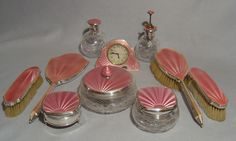 English silver and pink guilloche enamel Art Deco dressing table set