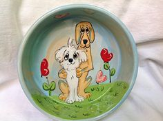 Pet Lovers 6 Dog Bowl for Food or Water Personalized at no Charge Signed by Artist Debby Carman >>> Check out the image by visiting the link.(This is an Amazon affiliate link and I receive a commission for the sales)