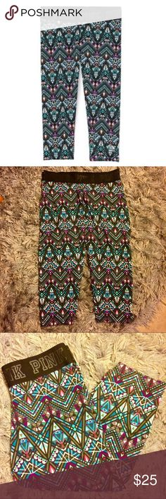 PINK the ultimate cropped leggings Victoria's Secret PINK ultimate cropped leggings in a cute tribal print! Elastic waistband with pink logo. New without tags, never worn! PINK Victoria's Secret Pants Leggings