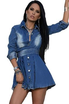 Long Sleeves Jeans Shirt Flared Dress
