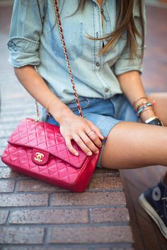 Denim On Denim and fuschia chanel bag