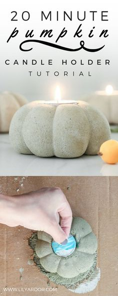 These easy concrete pumpkins are made using tights and rubberbands! It's super easy and fun to make! Can totally be a kids craft and is perfect for the holidays! :D