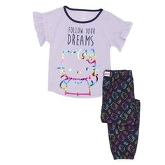 829305479f Girls  Hello Kitty Girl s Ruffle Sleeve 2 Piece Pajama Sleep Set (Little  Girl   Big Girl)