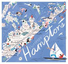 Libby Vanderploeg - An illustrated map of what to do and wear to go this summer in the Hamptons, for New York Times Thursday Styles. Hampton Art, East Hampton, Road Trip Usa, Norfolk, Die Hamptons, Hamptons New York, Southampton New York, Banks, Roadtrip