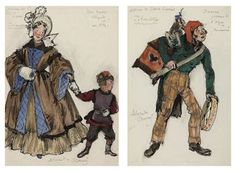 Two costume designs for Petrushka: An elegant lady and her son; and The first barrel-organ player, by Alexander Benois (1890 - 1960).