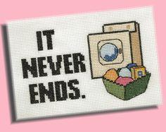 Funny Cross Stitch Pattern: Laundry Never Ends on Etsy, $3.50