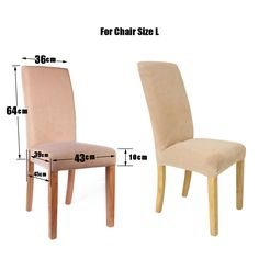 4 X Super Fit Stretch Short Dining Room Chair Cover Slip Covers Protectors  Beige