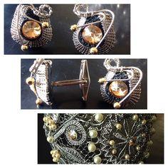 Stainless steel wire, handmade, wire wrapped bracelet and cufflinks, made by Tanja Stokin - Zojani.