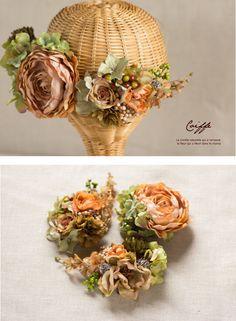 アンティークオレンジ×グリーン ヘッドレス(3パーツ) 商品詳細 花冠やウェルカムボードなど手作りで制作します ウェディングのお店 Cocochi Mille