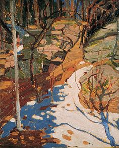 "Group of Seven painter - Tom Thomson - ""Snow And Rocks. Emily Carr, Canadian Painters, Canadian Artists, Abstract Landscape, Landscape Paintings, Group Of Seven Artists, Tom Thomson Paintings, Snow And Rock, Catalogue Raisonne"