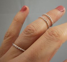 3 Sterling Silver Upper Finger Ring Stacking by PointNoPointStudio