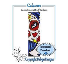 Calavere++Loom+Bracelet+Cuff+Pattern+by+LoomTomb+on+Etsy,+$4.50
