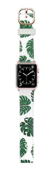 Casetify Apple Watch Band (42mm) Casetify Band - Tropical Green Watercolor Painted Swiss Cheese Plant Leaves by BlackStrawberry #Casetify
