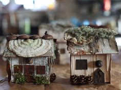 I like that everything except the glue can be found out in nature. Cute little houses (: