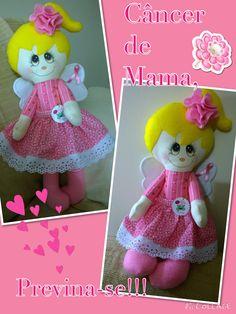 Boneca Rosinha. Criada para um evento em favor da prevenção ao Câncer de mama, by Ateliê Sapeka