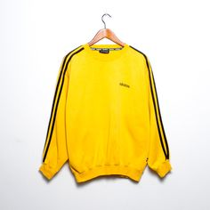 Vintage Adidas Sweatshirt Yellow Mustard by Thefashionjunky
