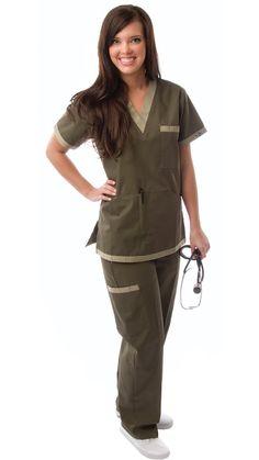 Women's Green & Khaki Contrast Uniform Scrubs