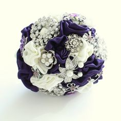 Cadbury Purple and Ivory Brooch Fabric Bouquet with silver diamante & pearl brooches and satin handmade flowers -  Medium