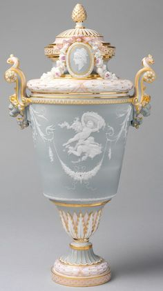 Vase with Cover Sèvres Manufactory 1883–85 French (Sèvres) porcelain combining elements of rococo and neoclassical styles