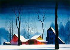 Barns in Snow by Eyvind Earle (watercolour)