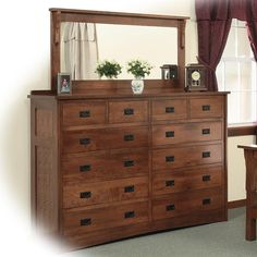 Mission Solid Wood Double Dresser with 58 X 28 Landscape Mirror by Daniel's Amish at Sadler's Home Furnishings Adams Furniture, Mission Furniture, Amish Furniture, Furniture Styles, Quality Furniture, Wolf Furniture, Diy Changing Table, Changing Table Dresser, Double Dresser