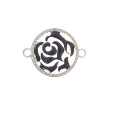 35mm Black Enamel Rose Connector With Rhinestones
