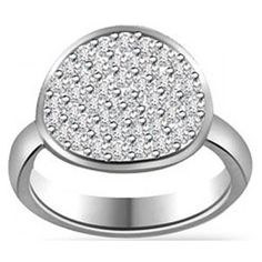 Pave Setting Diamond Ring In Wide Band In 14k Gold