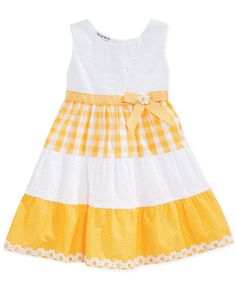 Blueberri Boulevard Little Girls' Mixed-Print Sundress - Kids - Macy's