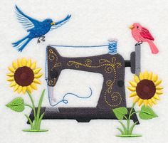 """This free embroidery design is called """"Sewing Sunflowers"""". Thanks to Embroidery Library for posting it."""
