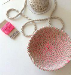 Bobina cuerda bowl tutorial y materiales. Tazón de cuerda tejida hacer kit e instrucciones DIY