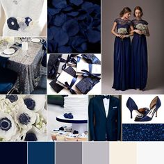 Wedding Color Palette Winter Wedding Navy Midnight Blue Silver White Glam Modern Chic by Go! Bespoke I like maybe with some pale pink accents? February Wedding Colors, Winter Wedding Colors, Gray Weddings, Winter Weddings, Blue Silver Weddings, Midnight Blue Weddings, Winter Wonderland Wedding, Dream Wedding, Wedding Navy