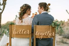 Better together wedding chair signs for bride and groom Exclusively at Black Label Decor