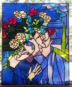 Stained glass Hanging Panel Marc Chagall by TerrazaStainedGlass $700