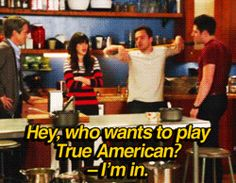 The rules of the True American drinking game from New Girl with diagrams and an appropriate number of gifs.