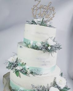 """18 To se mi líbí, 4 komentářů – Sladká Chaloupka (@sladka_chaloupka) na Instagramu: """"Svatební v mentolové #svatebnidort #svatebnidortzivekvety #nakedsvatenidort #nakedweddingcake…"""" Naked Wedding Cake, Desserts, Instagram, Food, Tailgate Desserts, Deserts, Essen, Dessert, Yemek"""