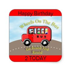 Wheels on the Bus Red Label Sticker Cake Toppers,  These Cute Wheels on the Bus red Sticker Labels can be used to make Cup Cake Toppers, stick them on party bags or any other project, the kids will love them. Feel free to change the words, maybe add a name at no extra cost.