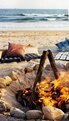 UjENA Summer Bucket List: Beach bonfire with pillow and blankets...after a day at the beach in your favorite UjENA Suit! www.ujena.com