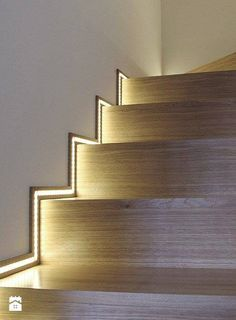 We think the use of LED tape light as stair lighting is always a great idea. - - We think the use of LED tape light as stair lighting is always a great idea. This idea is particularly unique way of accent lighting stairs. Stairway Lighting, Lights For Stairs, Strip Lighting, Accent Lighting, Wall Lighting, Lights For Home, Interior Lighting, Stairs Night Light, Led Stair Lights