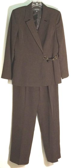 KASPER Petite Espresso Pant Suit - Lovely Suitiing Fabric - Frog Closure - Sz 8P #Kasper #PantSuit #suit #pants #jacket #espresso #brown #petite #8 #8P
