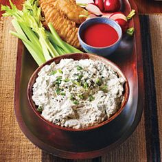 "Blue Cheese ""Hot Wing"" Dip - serve this blue cheese dip with chicken tenders, celery sticks, and hot wing sauce for an appetizer everyone is sure to love."