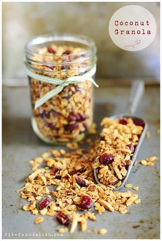 Coconut Granola with cranberries & nuts  3 cups rolled oats  ¼ cup truvia or stevia sweetener  ¾ teaspoon salt  1 cup slivered almonds  1 cup cashews  ¾ cup shredded sweet coconut  ¼ cup coconut oil  ¼ cup plus 2 tablespoons maple syrup  1 cup cranberries or any dried fruit of your choice