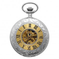 Charles-Hubert, Paris 3580 Sterling Silver Two-Tone Mechanical Skeleton Watch For Men
