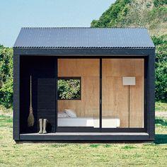 These new MUJI huts take minimalist living to the next level - MUJI hut - Outdoor Office, Backyard Office, Backyard Studio, Backyard Sheds, Garden Office, Garden Huts, Garden Cabins, Modern Shed, Modern Tiny House