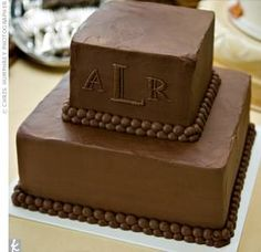 Chocolate Groom's Cake - love the simple look and monogram!!