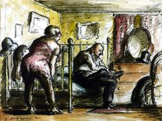 Edward Ardizzone, 'The Bedroom' 1931Although designed as a series these were not intended for book illustrations. They should not be regarded as moralities in the way that Hogarth's paintings of the same subject were, but rather as mildly satirical reportage.