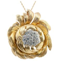 VAN CLEEF & ARPELS Peony Pendant | From a unique collection of vintage chain necklaces at http://www.1stdibs.com/jewelry/necklaces/chain-necklaces/
