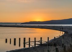 Waikanae Estuary as the sun dips behind Kapiti Island, Kapiti Coast, (North of Wellington), New Zealand Ref No: Great Places, Places Ive Been, Long White Cloud, Kiwiana, Middle Earth, New Zealand, Landscape Photography, Dips, Sunrise