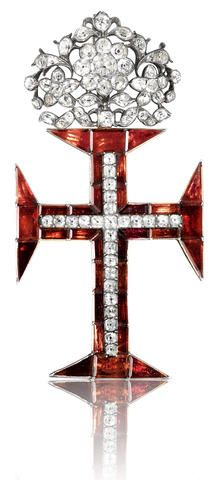 Exquisitely Designed- An 18th century white topaz, garnet and gold Cross of the Portuguese Order of Christ,